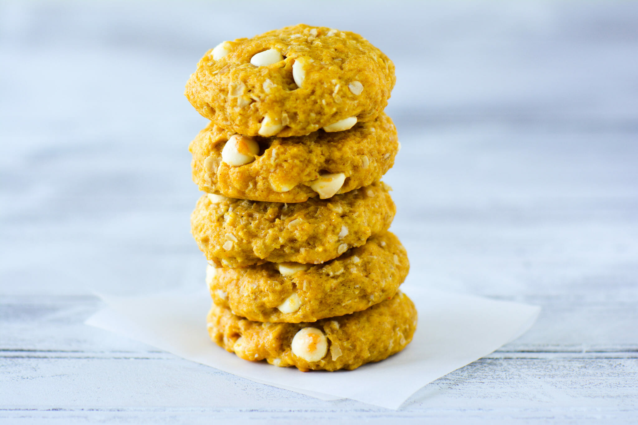 Pumpkin Oatmeal White Chocolate Chip Cookies