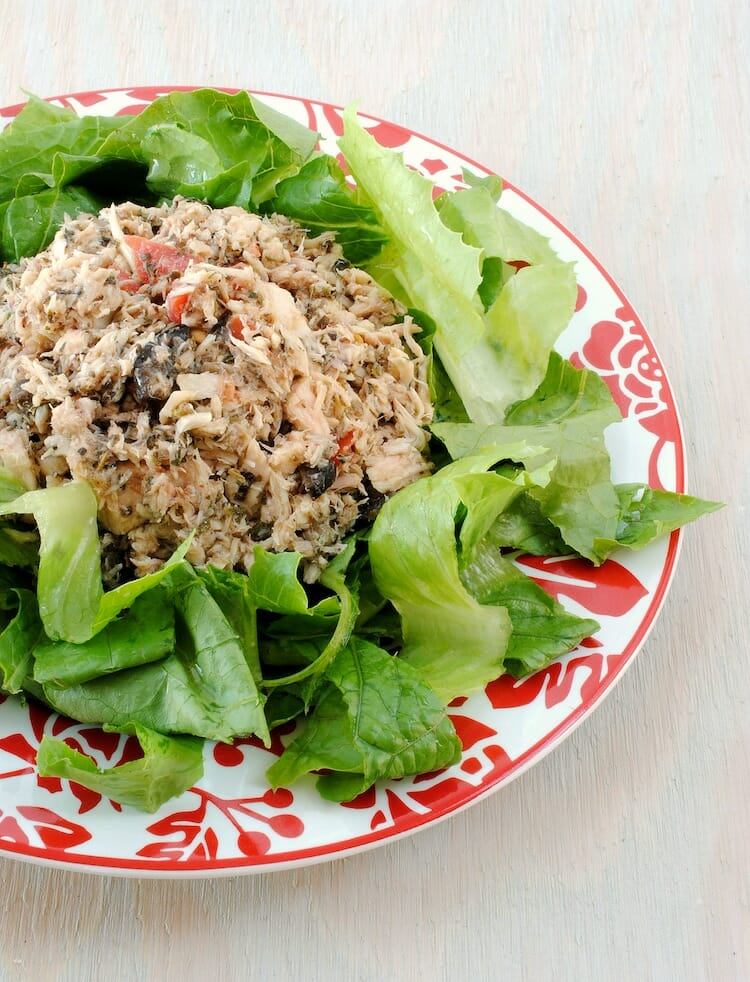 Mediterranean Tuna Salad over Greens