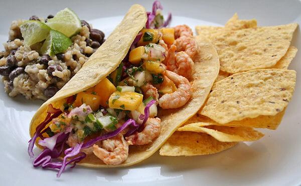 Shrimp Tacos with Mango Salsa & Coconut Black Bean Rice