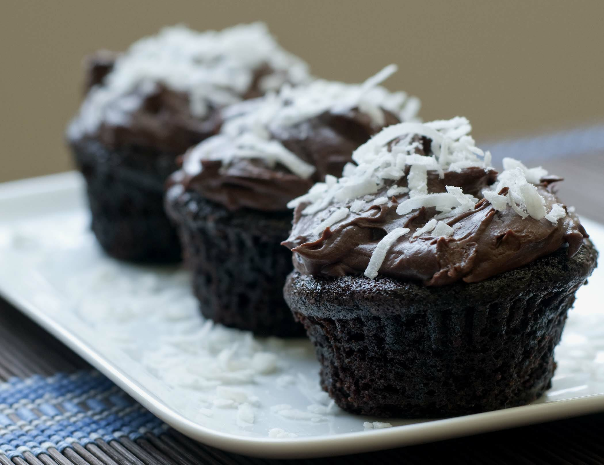 Chocolate Coconut Cupcakes with Ginger Cream Fosting