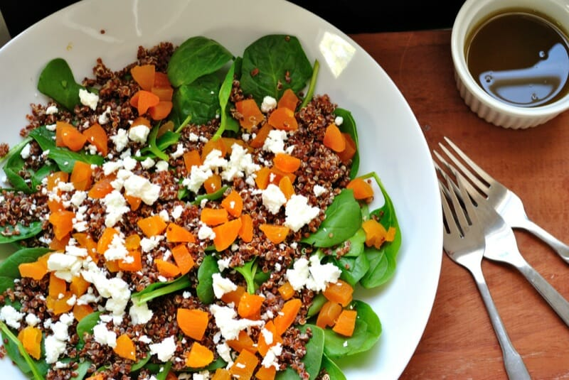 Quinoa Spinach Salad with Maple Sage Vinaigrette