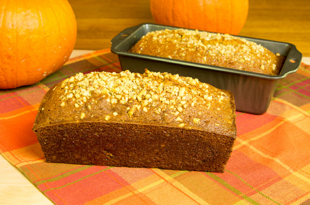 Pumpkin Bread With Crumble Nut Topping
