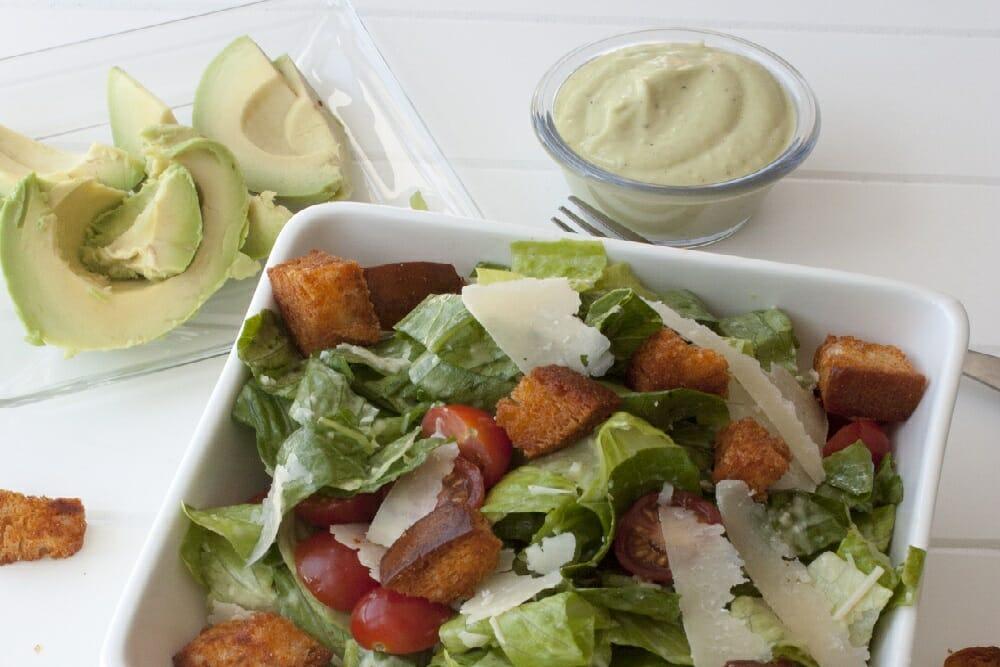 Caesar Salad with Avocado Dressing
