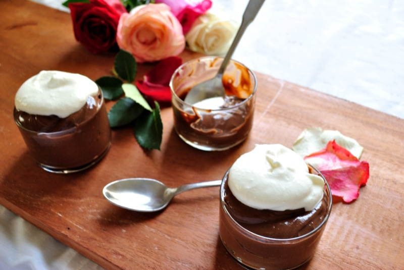 Chocolate Pudding with Rose Scented Whipped Cream