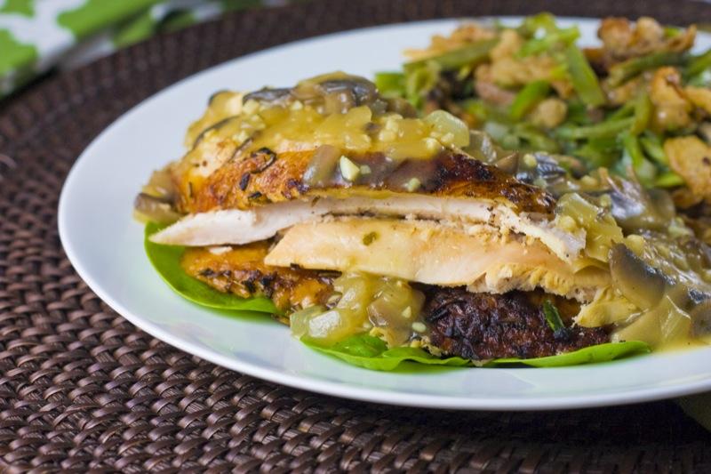Roasted Chicken with Garlic Mushroom Gravy