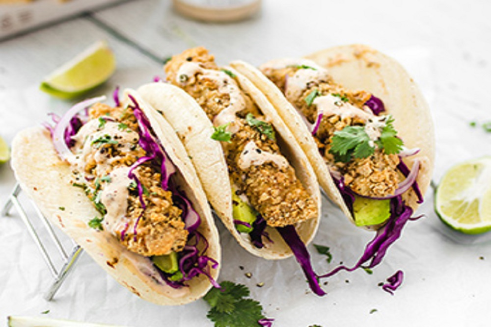 Breaded Fish Tacos with Habanero Ranch Dressing