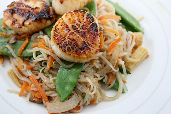 Sautéed Scallops with Asian Noodle Salad