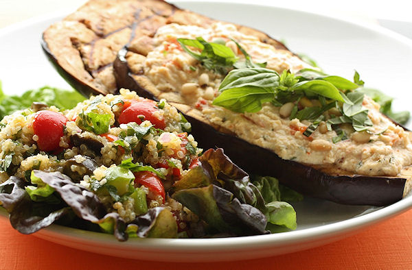 Grilled Balsamic Eggplant with Herbed Ricotta Spread