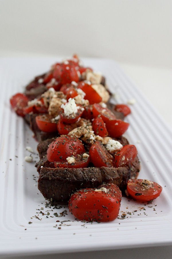 Grilled Flank Steak with Crumbled Goat Cheese