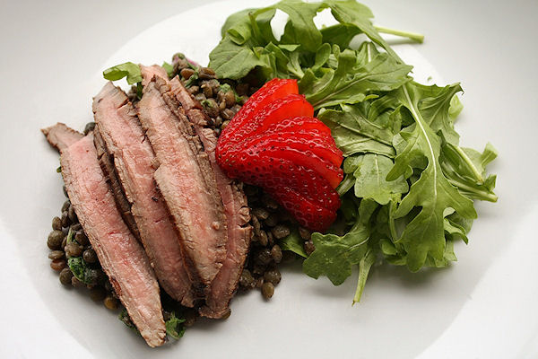 Beef with Strawberry Balsamic Sauce and Arugula-Lentil Salad