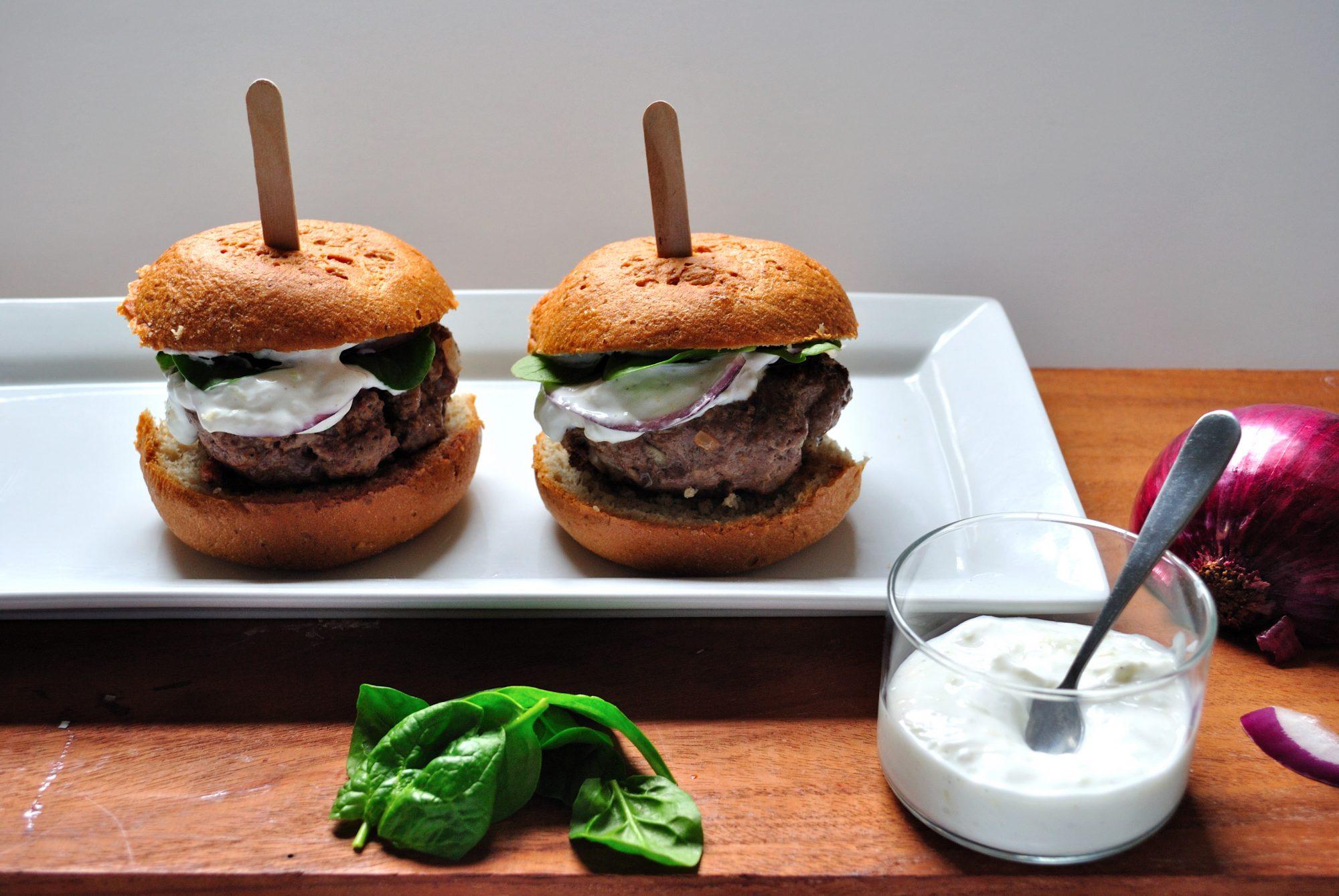 Gyro Burgers with Cucumber Yogurt Sauce