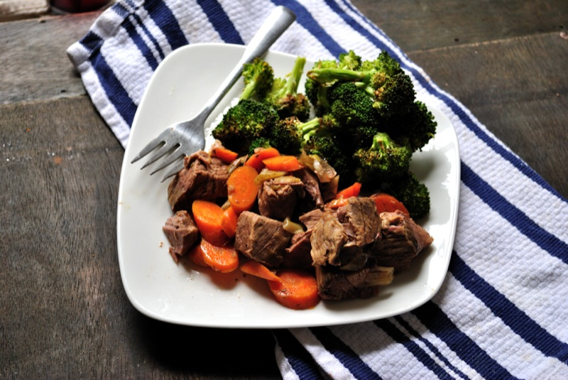 Crockpot Ginger Beef and Roasted Broccoli