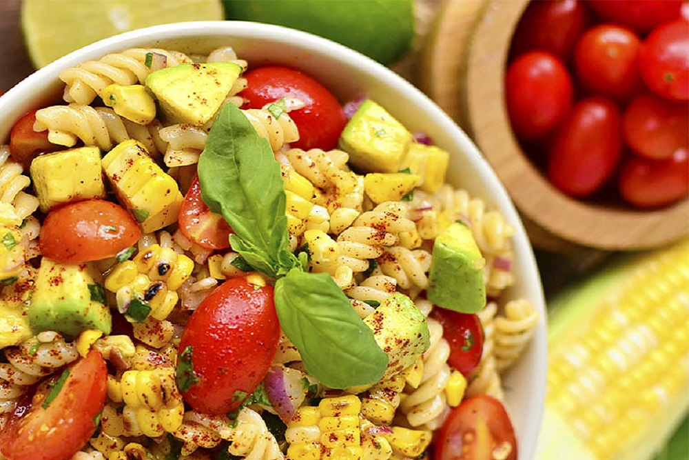 Grilled Corn and Avocado Pasta Salad