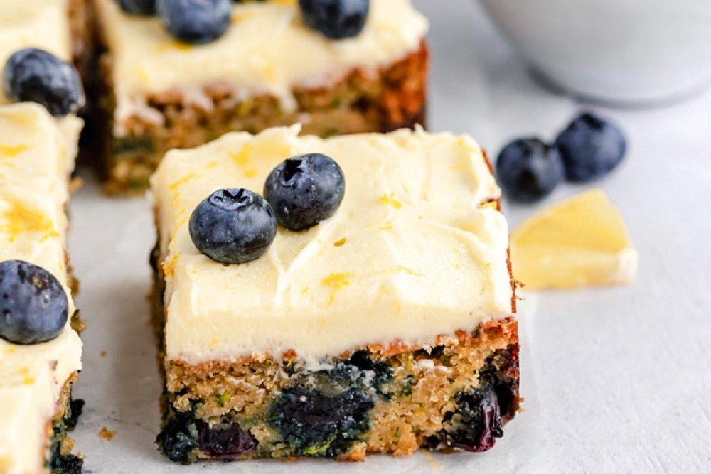 Lemon Blueberry Zucchini Cake with Lemon Frosting