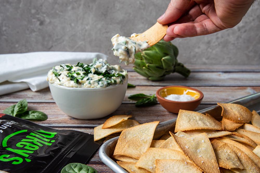 Spinach Artichoke Dip with Gluten-free Tortilla Chips