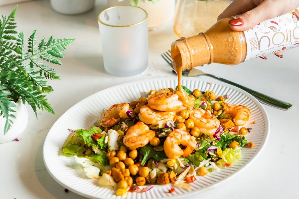 Shrimp Chopped Salad with Creamy Tahini Dressing